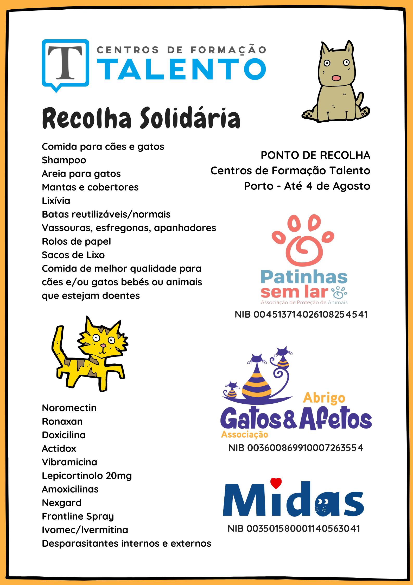 Recolha de donativos para animais